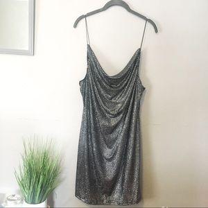 ✨Topshop | Glitter Disco Black & Silver Mini Dress